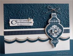 "i like it **** SU ""Ornament Keepsakes"", ""Holiday Ornaments"" framelits dies, & ""Lacy Brocade"" Embossing Folder from the 2012 Holiday Mini and ""Large Scallop"" edgelits."