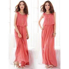2013 New Arrival Bohemian Beach Dress Chiffon Long Dress Watermelon Red