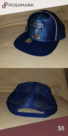 Bud Light Super Bowl Snapback Hat Bud Light Super Bowl Snapback Hat.  Purchased and worn omce for a costume and has sat in my closet since. Great condition. Has various snap lengths.  Mesh back with printed front. K-Products Accessories Hats