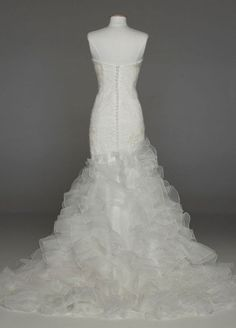 Davids Bridal #Wedding #Dress: Wedding #Gown with Lace Appliques and Ruffled Skirt Style SWG560: Sale:	$1,100.00
