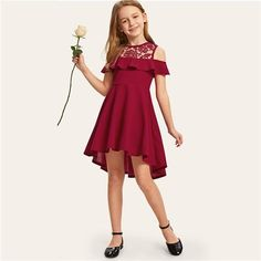 Shein Kiddie Guipure Lace Cold Shoulder Ruffle Hem Girls Party - Lilly is Love Cheap Dresses, Dresses For Sale, Formal Dresses, Girls Party Dress, Girls Dresses, Ashley Clothes, Cute White Dress, Spandex Dress, Summer Girls