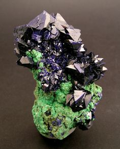 AZURITE with MALACHITE:    The habitus is very unusual. The absence of the main prism suggests the apparent form of a dipyramid or an octahedron. The contrast between the vivid blue of the Azurite and the intense green of the Malachite is superb. This is one of the few pieces found with this crystallographic habitus at the locality.  Oumjrane mines, Alnif, Tarhbalt, Er Rachidia, Meknès-Tafilalet  Morocco