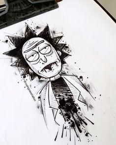 Dark Art Drawings, Pencil Art Drawings, Art Drawings Sketches, Tattoo Sketches, Cool Drawings, Rick And Morty Drawing, Rick And Morty Tattoo, Graffiti Tattoo, Graffiti Art