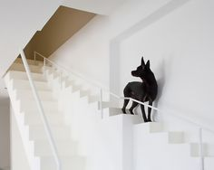 Staircase for Dogs~Creative staircase designed by for residential house in Vietnam. It has an extra set of smaller stairs designed specifically for dogs. Modern house is also equipped with pet doors and windows. Small Staircase, Staircase Design, Amazing Architecture, Architecture Design, Stairs Architecture, Amazing Buildings, Dog Stairs, House Stairs, Stairway To Heaven