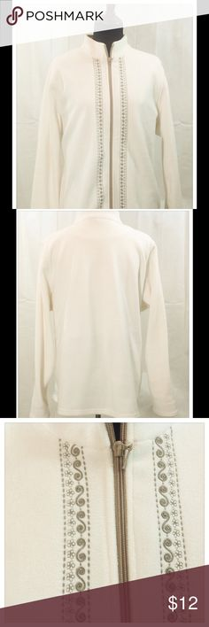NWOT Winter White Fleece Jacket Soft and warm fleece jacket is great for casual wear or exercise. The embroidered design adds a special touch. 100% polyester. Machine wash cold. Jackets & Coats