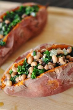 Stuffed Sweet Potatoes with Kale and Black Eyed Peas