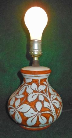 Vintage Italy Majolica Lamp Orange White Flowers Vines Ceramic Italian Pottery #unknown