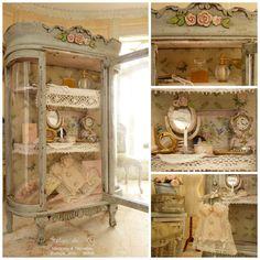 "Romantic curio Boudoir, Shabby blue gray ""Toits de Paris"", Corset and feminine accessories, miniature house furniture in 1:12th scale"