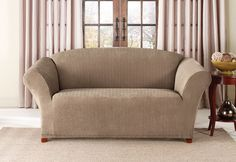 SUREFIT Taupe Stretch Pinstripe Sofa Slipcover - Christmas Tree Shops and That! - Home Decor, Furniture & Gifts Store Sure Fit Slipcovers, Loveseat Slipcovers, Loveseat Covers, Tire Furniture, Space Furniture, Casual Decor, Mattress Brands, Decorative Pillow Covers, Living Area