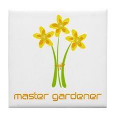 Daffodils Bouquet Master Gardener Tile Coaster on CafePress.com