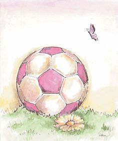 Soccer! I love this picture becaue I'm a girl who loves sports and soccer is usally a men's sport. Its shows flowers, pink, and a butterfly which I think is essential to most girls.
