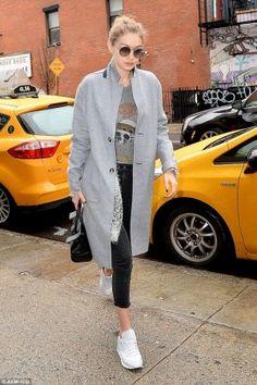 Gigi Hadid wearing Versace Palazzo Empire Bag, Lauren Moshi Aerosmith Skull Kinzington Crop Tank and Jessica Alba x DL1961 No. 4 Instasculp Cropped Motto Jeans