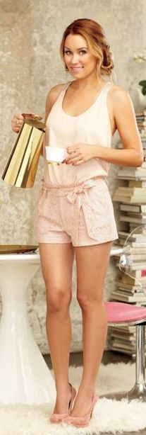Shorts and shirt - Kohl's Lc lauren conrad pleated lace shorts Lc lauren conrad platform high heels Similar style top Lc lauren conrad mixed-media chiffon tank