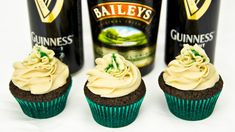 These Guinness chocolate cupcakes with Baileys buttercream frosting are a great way to celebrate Saint Patrick's Day or just about any other gathering with friends! Guinness chocolate cupcakes Ingredients: 1 cup Guinness beer (240mL) 1 cup unsalted butte. Card, Chocolate, Cupcake, Cook, Cake,