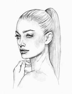 art, dessin, fille