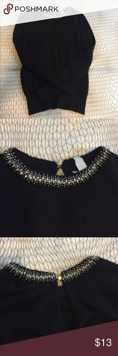 Beaded neckline long sleeve blouse/sweater Long sleeve sweater with beaded neckline. Button in the back and a small keyhole opening. Extra button attached to the tag H&M Tops