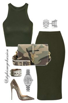"""""""Untitled #544"""" by redvelvetwithsprinkles ❤ liked on Polyvore featuring Topshop, Yves Saint Laurent, Christian Louboutin, Rolex, Allurez and Hermès"""