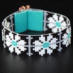 Black White Turquoise Floral Bead Loom Cuff by PuebloAndCo on Etsy