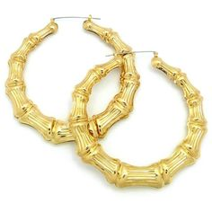 Classic Bamboo Door Knocker Hoop Earrings in Gold-Tone XE1121G-10 ($11) ❤ liked on Polyvore featuring jewelry, earrings, bamboo earrings, bamboo jewelry, gold tone hoop earrings, goldtone jewelry and hoop earrings
