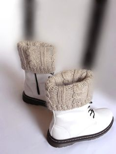 Knit Boot Cuffs Leg warmers Chunky Cable knit Winter fashion