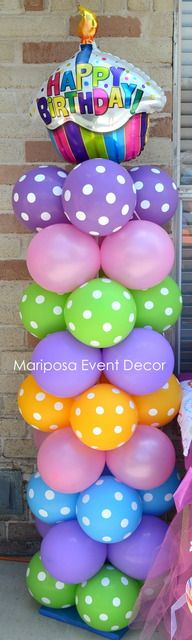 Polka Dot / Cupcake balloon column polkadot
