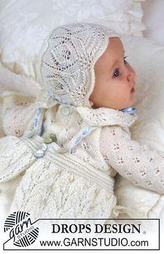 Christening bonnet in Safran pattern by DROPS design