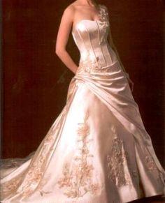 pink silk couture wedding dress.