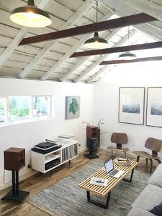 New Listening Room Garage Conversion In 2019 Garage Room Transformer Un Garage, Living Room Designs, Living Spaces, Living Rooms, Converted Garage, Garage Renovation, Garage Interior, Garage Studio, Audio Room