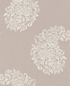 Soubise (W6010/05) - Osborne & Little Wallpapers - A large scale motif design of a rose bouquet in the shape of a paisley teardrop. Available in 5 colours – shown in cream on metallic clover. Please ask for sample for true colour match.
