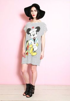 Vintage 1980's Mickey Mouse Sailor T-Shirt Dress