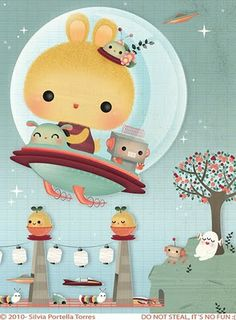 ♥ Bukubuku ♥ kawaii japanese easter bunny in spaceship illustration, very cute Kawaii Illustration, Doodles, Wow Art, Kawaii Art, Kawaii Style, All Things Cute, Cute Characters, Cute Art, Chibi