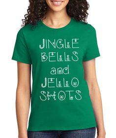 Green Jingle Bells and Jello Shots Crewneck Tee