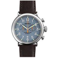 Shinola 'The Runwell Chrono' Leather Strap Watch, 47mm (6 335 SEK) ❤ liked on Polyvore featuring men's fashion, men's jewelry and men's watches