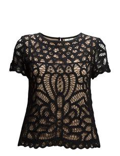 DAY - Day Ornamentum-Crochet lace overlay Keyhole button closure Scalloped trim Short sleeves Chic Elegant and feminine Sophisticated Lace Overlay, Crochet Lace, Short Sleeves, Feminine, Closure, Button, Elegant, Chic, Stylish