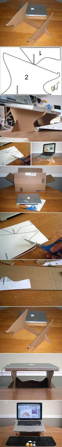Suporte para Notebook de papelão, três peças com molde.