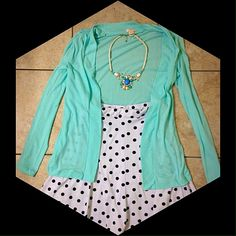 Tiffany Blue Preppy J. Crew Cardigan  NWOT lightweight J.Crew cardigan in a lovely Tiffany blue shade. Never worn except for the last picture. Very cute, can be dressed up or down. Fly-away style on the front. J. Crew Sweaters Cardigans