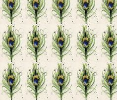 Painted Peacock Feather fabric by jennifer_weyenberg on Spoonflower - custom fabric
