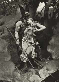 Wotan takes leave of Brunhild (1892) by Konrad Dielitz