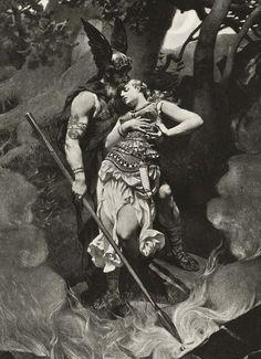 Wotan takes leave of Brunhild(1892) by Konrad Dielitz