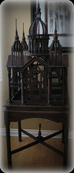 Victorian Architectural carved palace birdcage on matching stand Gothic House, Victorian Gothic, Victorian Homes, Victorian Furniture, Antique Furniture, Furniture Decor, Art Nouveau, Goth Home, Gothic Home Decor