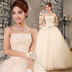 envío gratis 2014 el otoño y el invierno nueva llegada de parte superior del tubo de la boda vestido de novia de encaje vestido noble de color champán vestido de novia