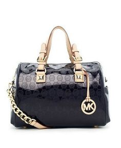4aa9ad51c4c Michael Kors Medium Grayson Monogram Satchel Black Patent Leather! Only  $123.1USD Winter Mode Outfits