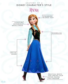 Anatomy of a Disney Character's Style: Frozen Edition /// I don't think the character of Anna gets enough love. Every little girl is dressed as Elsa for Halloween -- where are all the little Annas? Walt Disney, Disney Nerd, Disney Girls, Disney Style, Disney Love, Disney Magic, Disney Frozen, Anna Disney, Elsa Frozen