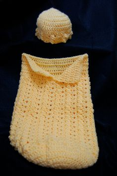 Crochet  Baby Girl Hat and Papoose Cutie Patootie by mymomshands