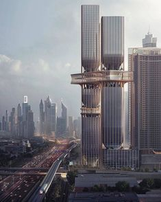 Towers in Dubai by Zaha Hadid Architects Image by vía Zaha Hadid Architecture, Art Et Architecture, Modern Architecture Design, Architecture Visualization, Futuristic Architecture, Amazing Architecture, Chinese Architecture, 3d Visualization, Zaha Hadid Design