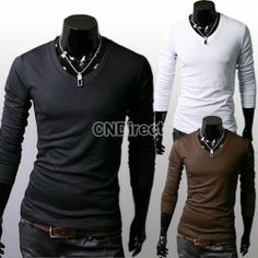 Men\'s Slim Fit Solid Color Stylish V Neck Long Sleeve T-shirts Tee Tops M/L/XL
