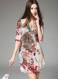 find more at Vestidos Vintage, Shift Dresses, Manga Floral, Floral Tops, Floral Prints, Vestido Casual, Half Sleeves, Ideias Fashion, Fashion Online