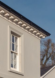 The dentils are are an elegant feature of this Georgian Inspired House. Ranch House Plans, Craftsman House Plans, Modern House Plans, House Floor Plans, Georgian Style Homes, Roof Detail, Passive House, Architect House, Architectural Features