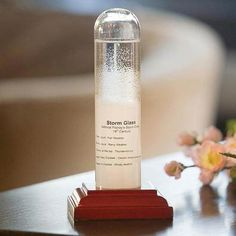 Historic Reproduction Storm Glass.  The Historic Reproduction Storm Glass is a home décor weather instrument that helps you find out when bad weather is coming. Invented in the 19th century by sailor and meteorologist Admiral FitzRoy, this device is a liquid and crystal filled storm glass that can predict the weather up to 2 days in advance. Changes in the crystal formations can indicate fair weather (clear liquid), rainy weather (murky liquid), thunderstorms (crystals at the top), cloudy…