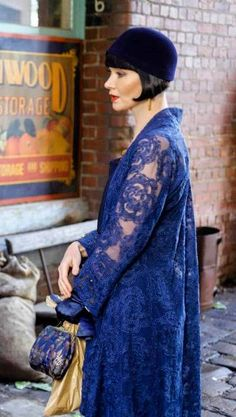 Phryne in a royal blue lace day coat ~ Miss Fisher's Murder Mysteries